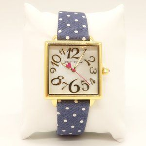 NWT BETSEY JOHNSON Blue Polka Dot Square Watch